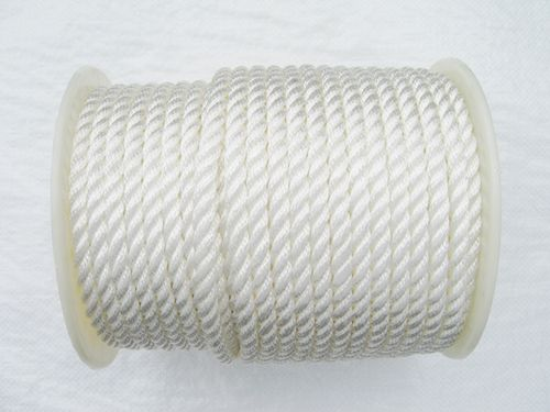 10MM x 55 Metre Reel, White, 3 Strand Nylon Rope - Boat Marine Yacht Anchor